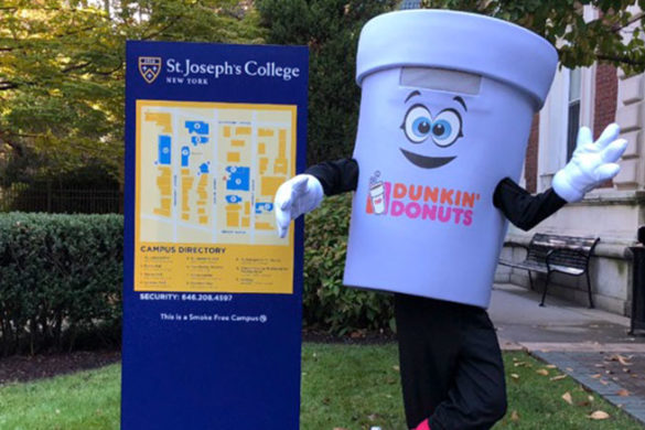Dunkin' Donuts' mascot on campus at SJC Brooklyn